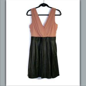 Ark & Co Blush & Black Vegan Leather A-Line Dress